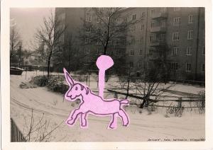 """Unicorn"", foto, haftnotiz, 2002"
