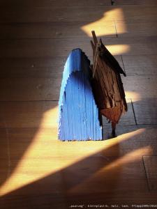 """paarung"", kleinplastik, holz, lack, 1999/2015"